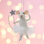 Fairy Mouse with Star Wand Felt Christmas Tree Decoration