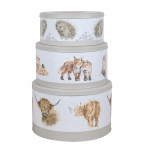 Wrendale Designs Grey Illustrated Set of 3 Stacking Cake Tins